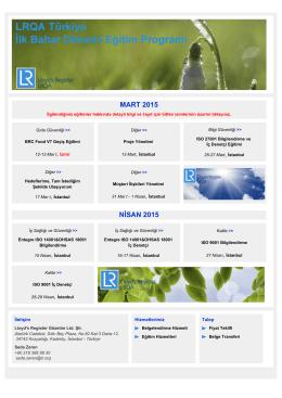 Mart ve Nisan 2015 Eğitimleri
