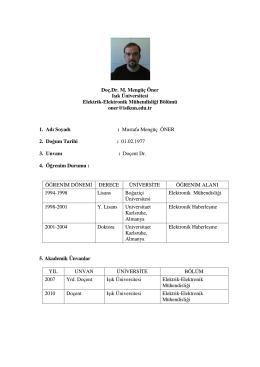 Doç.Dr. M. Mengüç Öner Işık Üniversitesi Elektrik