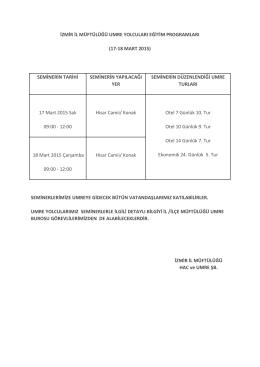 17-18 mart 2015 - İzmir Müftülüğü