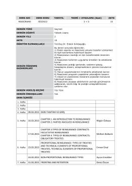 SİGO522 Reasürans Dersi İçeriği