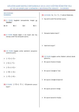 gülsüm sami kefeli ortaokulu 2014-2015 eğitim öğretim yılı 6f ve 6r