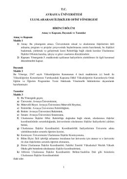 Avrasya Üniversitesi Uluslararasi İlişkiler Ofisi Yönergesi