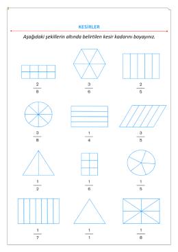 Aşağıdaki şekillerin altında belirtilen kesir