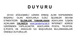 2014/2 Sözleşmeli Uzman Erbaş Alım Duyurusu