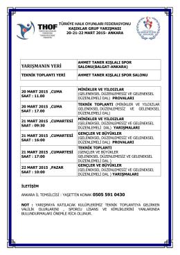 ankara grup yarışması programı - Türkiye Halk Oyunları Federasyonu