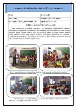 Veli Okul El Ele Projesi - Çanakkale İl Milli Eğitim Müdürlüğü