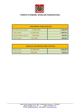 Hobi Karting Pist Lisans Ücretleri