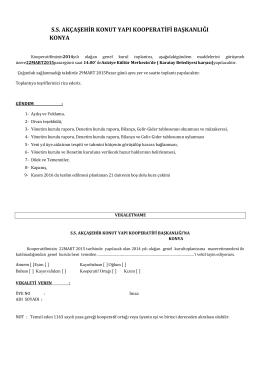 ss akçaşehir konut yapı kooperatifi başkanlığı