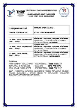 kırklareli grup yarışması programı - Türkiye Halk Oyunları Federasyonu