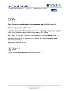 2015-013 Beyanname ve Bildirim Formlarının Verilme Süreleri