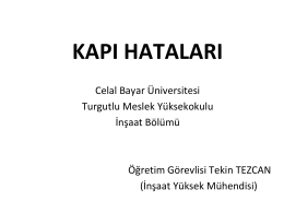 kapı hataları - Celal Bayar Üniversitesi