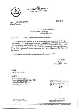 Müdürlüğümüzün konu ile ilgili 20/03/2015 tarih ve 3099758 sayılı