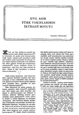 xvıı. asır türk vakıflarının iktisadî boyutu