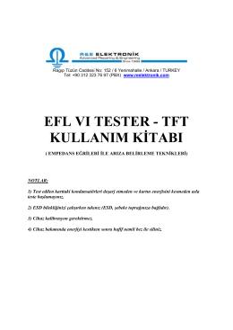 EFLVITester - TFT -Kullanım Kitabı İndirmek İçin Tıklayınız