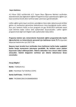 Sayın Katılımcı - Hacettepe Üniversitesi Yaşam Boyu Öğrenme