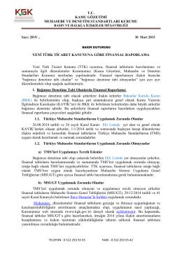 Yeni Türk Ticaret Kanununa Göre Finansal Raporlama Hakkında