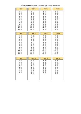 türkçe dersi yaprak testleri için cevap anahtarı 1. c 2. c 3. a 4. a 5. a 6