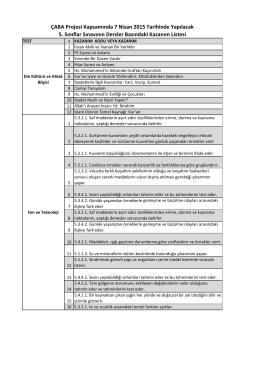 ÇABA Projesi Kapsamında 7 Nisan 2015 Tarihinde Yapılacak 5