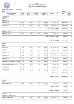 mart 2015 aylık bülten - Denizli Ticaret Borsası
