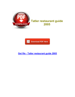 Tatler restaurant guide 2005