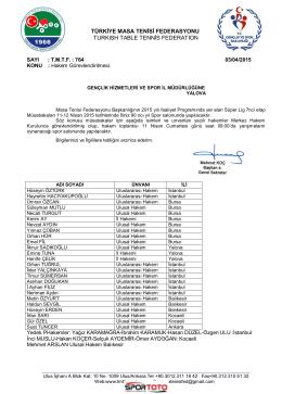 11-12 Nisan 2015 Süper Lig Hakem Görevleri