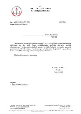 Faaliyetler Modülü - aşkale ilçe millî eğitim müdürlüğü