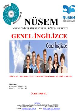 GENEL İNGİLİZCE - Niğde Üniversitesi