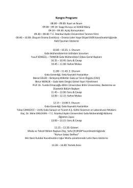 Kongre Programı - gıda mühendisliği 6. öğrenci kongresi