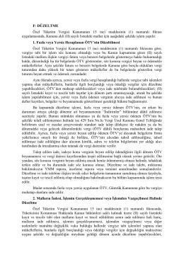 F- DÜZELTME Özel Tüketim Vergisi Kanununun 15 inci maddesinin