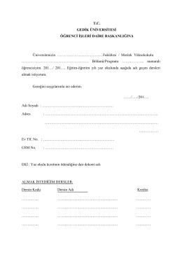 yaz okulu başvuru formu