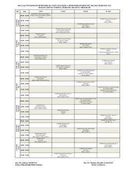 2014-2015 Bahar Dönemi Vize Sınav Programı