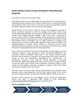 Dünya Bankası Grubu Cinsiyet Stratejisinin