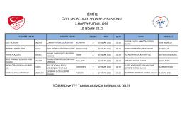 Temsilci Listesi - Türkiye Özel Sporcular Spor Federasyonu