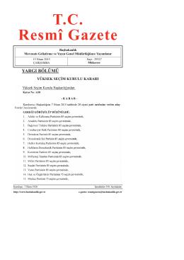 Yüksek Seçim Kurulunun 14/4/2015 Tarihli ve 630