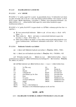 KOD – 4678 - Hava Tahminleri