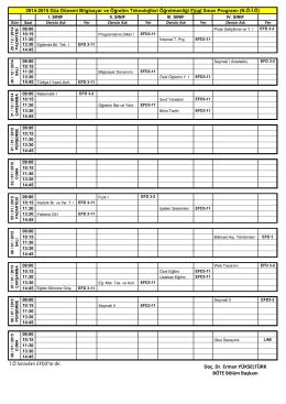2014-2015 Güz dönemi Final ve Bütünleme sınav programı