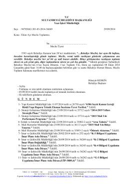 T.C SULTANBEYLİ BELEDİYE BAŞKANLIĞI Yazı İşleri Müdürlüğü G