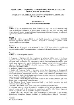 Ar-Ge İnovasyon ve Endüstriyel Uygulama Destek Programı
