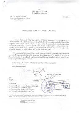 T.C. ADıYAMAN VALİLİĞİ - Adıyaman Halk Sağlığı Müdürlüğü