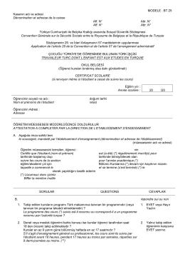 MODELE : BT 25 Kasanın adı ve adresi Dénomination et