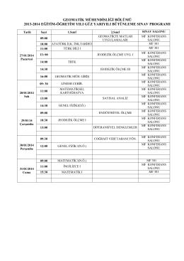 geomatik mühendisliği bölümü 2013-2014 eğitim