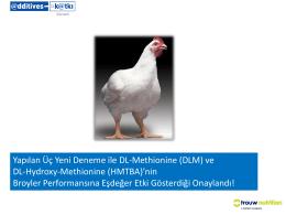 Yapılan Üç Yeni Deneme ile DL-Methionine (DLM) ve