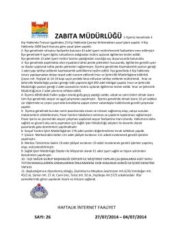 haftalık internet faaliyet sayı: 26 27/07/2014 – 04/07/2014