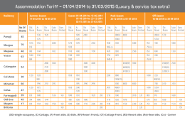 Accommodation Tariff - 01/04/2014 to 31/03/2015