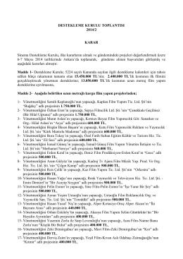 DESTEKLEME KURULU TOPLANTISI 2014/2 KARAR Sinema