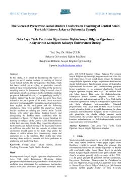 Orta Asya Türk Tarihinin Öğretimine İlişkin Sosyal Bilgiler Öğretmen