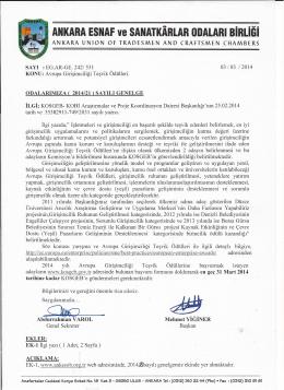 genelge no 021 - Ankara Ve Esnaf Sanatkarları Odaları Birliği