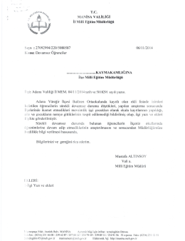 T.C. MANNA VAL!LW! ii Mill Egitim Mudurliigii 06/11/2014 Konu