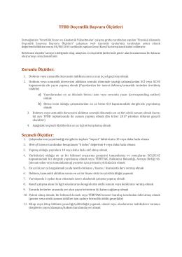 TFBD Doçentlik Başvuru Ölçütleri Zorunlu Ölçütler: Seçmeli Ölçütler: