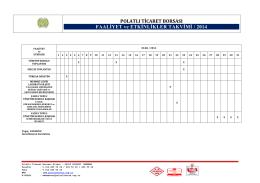 2014 Yılı Faaliyet ve Etkinlikler
